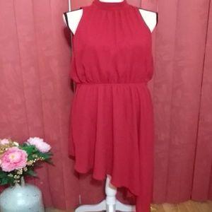 Burgundy assymetrical hemline sleeveless dress